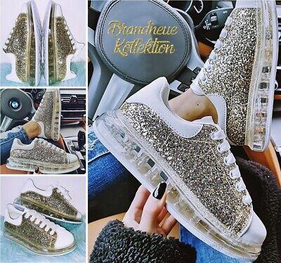NEU GR 40 Glitzer Sneakers mit transparenter Sohle - Glitter Gold Schuhe