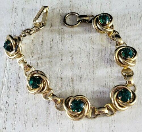 """Vintage Gold Tone Bracelet Green Rhinestones with 3D Roses 6 1/2"""" REPAIR"""