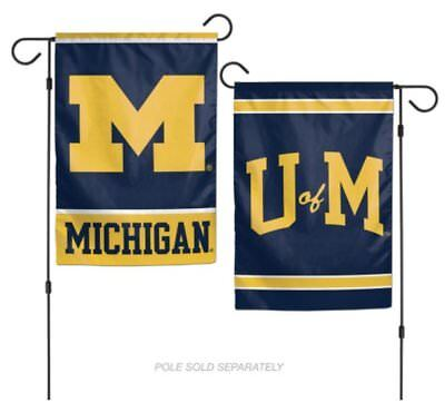 12x18 Michigan Wolverines 2 Sided Double Sided Garden Flag Wall Banner FAST SHIP