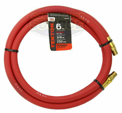 """Tekton 3/8"""" x 6' ft Rubber Air Hose Whip Lead 250 PSI Brass Ends USA Made 46333"""