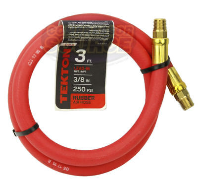 """Tekton 3/8"""" x 3' ft Rubber Air Hose Whip Lead 250 PSI Brass Ends USA Made 46332"""