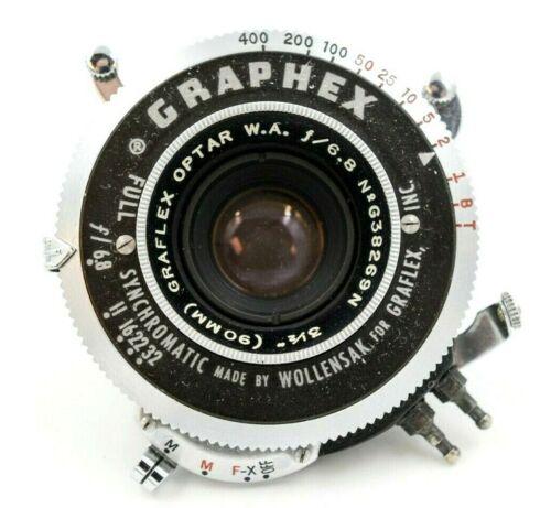 Graflex Optar W.A. 3 1/2 inch 90mm f/6.8 Lens - Graphex Shutter CLEAN w/ Caps