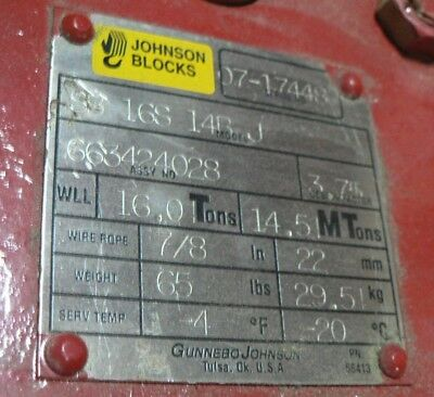 Gunnebo Johnson Blocks Sb16s14bj 16ton 14.5mt 78 Wire Rope