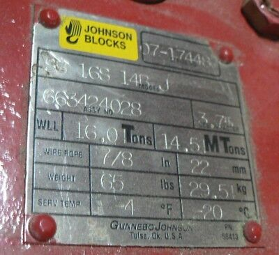 Gunnebo Johnson Blocks Sb16s14bj 16ton 14.5mt 78 Wire Rope