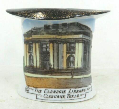 CLEBURNE TEXAS Carnegie Library Antique hand painted souvenir china J.W. PITTMAN