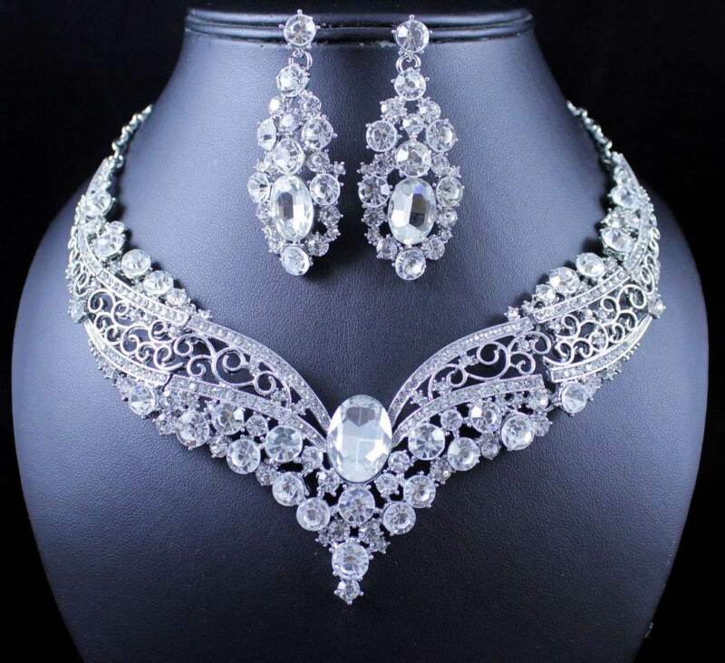 ELEGANT AUSTRIAN RHINESTONE CRYSTAL NECKLACE EARRING SET BRIDAL PROM N1872 WHITE