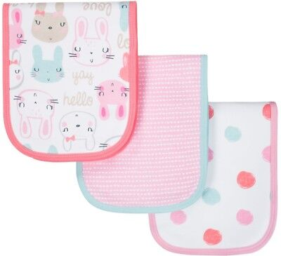 - GERBER BABY GIRLS 3-Pack Organic Cotton Terry Lined Burp Cloths - Bunny - Pink