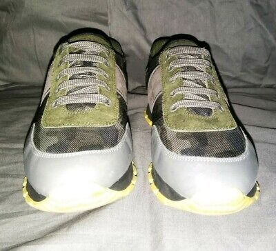- Prada Gray Camo Yellow Lace Up Suede  Athletic Active Sneaker 40