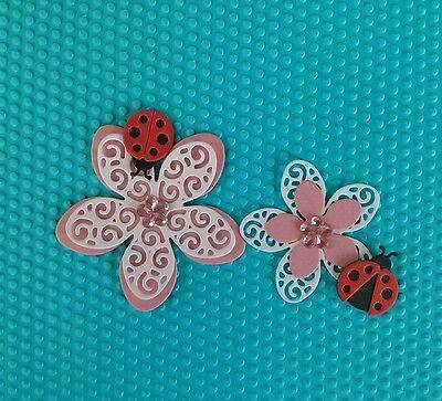 9 x Kartenschmuck Kartenaufleger Blumen Scrapbooking Basteln Papier Stanzteile