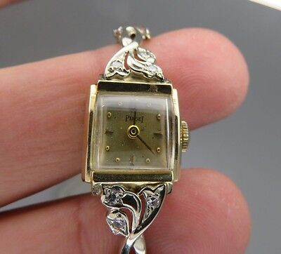 PIAGET 14K GOLD AND DIAMOND LADIES VINTAGE WRIST WATCH