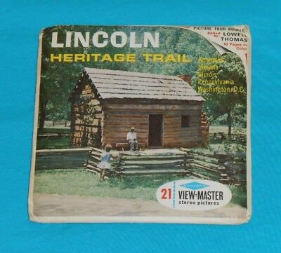 vintage LINCOLN HERITAGE TRAIL VIEW-MASTER REELS packet with booklet