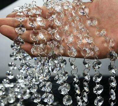 VOVOV 20FT Clear Crystal Garland Chandelier Octagon Beads