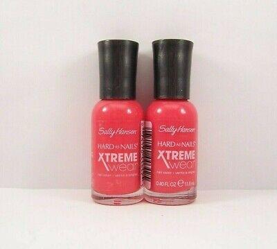 2 Sally Hansen Hard As Nails Xtreme Wear Nail Polish 304 REBEL RED