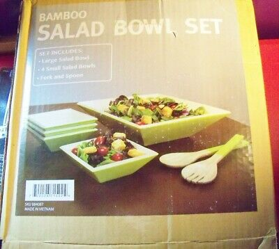 Orbit BAMBOO 7-Piece Salad Bowl Set Green BRAND NEW IN BOX serving fork spoon Bamboo Salad Serving Bowl