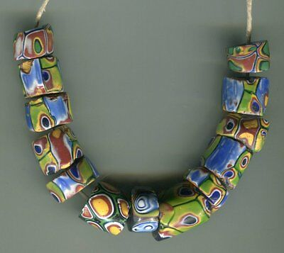 African Trade beads Vintage Venetian glass beads mixed millefiori