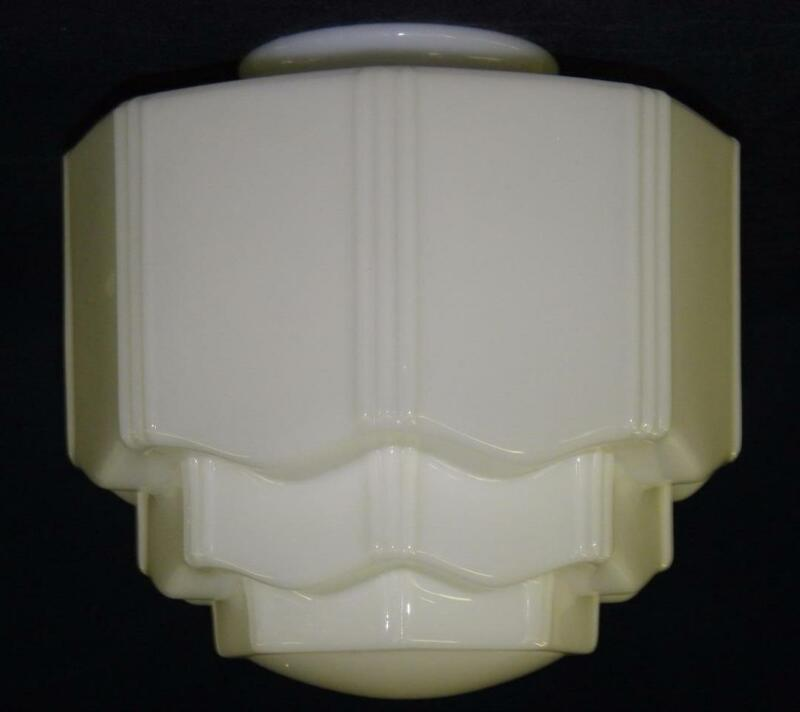 Vintage Nouveau / Deco Skyscraper Ceiling Globe / Shade - White Milk Glass