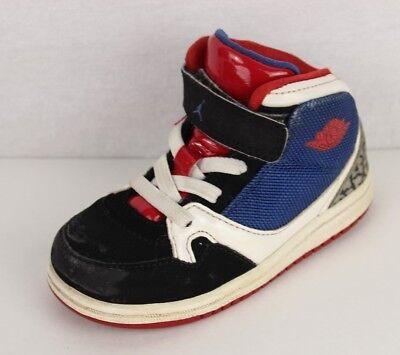 Nike Air Jordan Kleinkinder Kinder Leder Basketball Blau Schwarz Rot Größe 7C (Kleinkind Nike Basketball Schuhe)