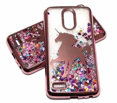 For LG Stylo 3 Stylo 3 PLUS - Rose Gold Unicorn Glitter Hearts Liquid Case Cover (Hearts Plus)