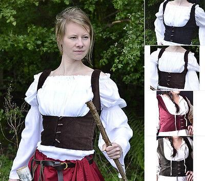 Battle Merchant Miederweste mit Knöpfen Mieder Weste Mittelalter LARP - Mieder Baumwolle Kostüm