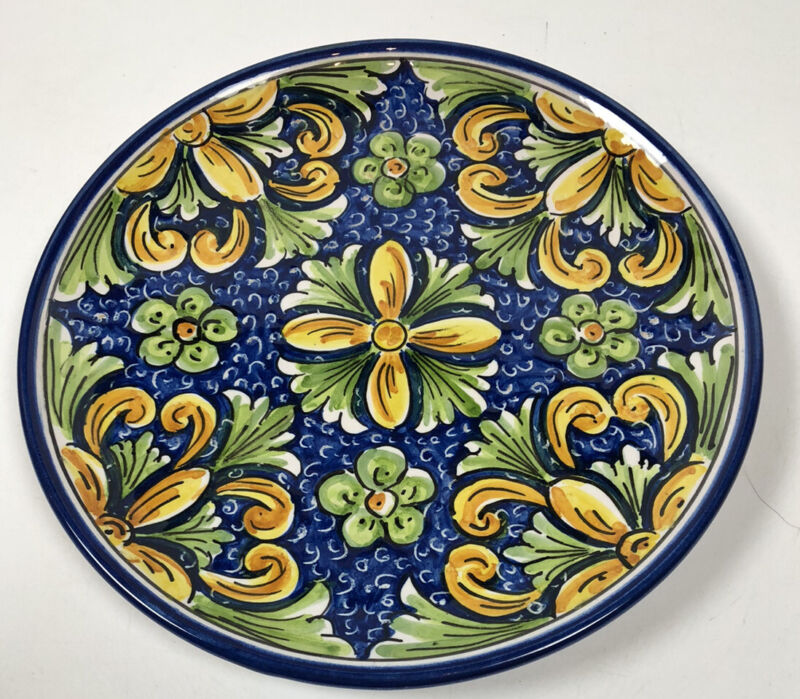 "Vintage Caltagirone Italy Faience Abstract Floral Art Pottery 9.5"" Plate Signed"