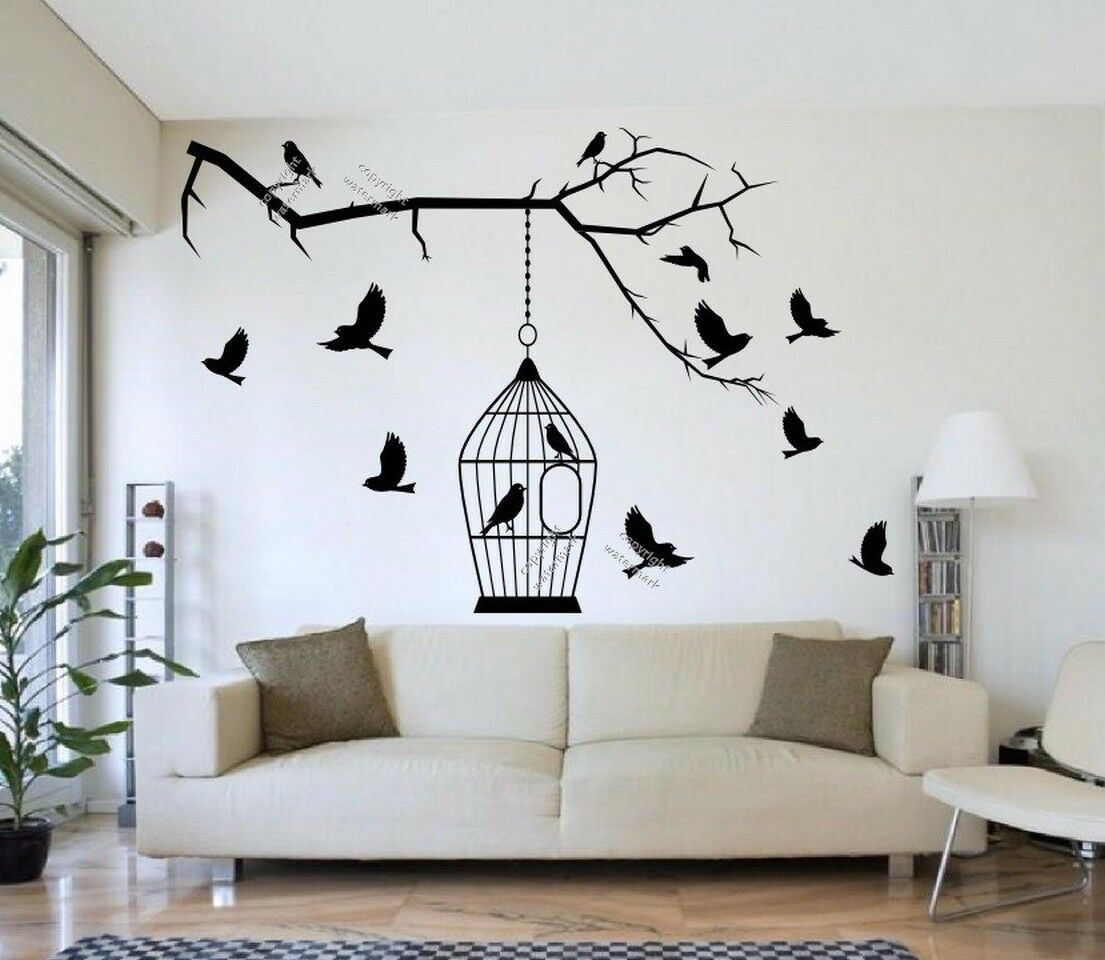 Birds On The Branch Wall Sticker With Cage Giant Genuine Bro