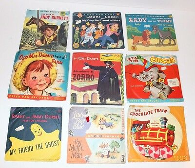 Vintage 45 RPM Record Lot of 9 Children's Peter Pan Golden Disney Howdy Doody