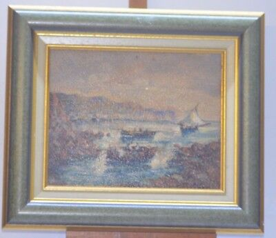 ANTIQUE PAINTING FRAME CANVAS OIL BOAT SEA FRAME SIGN