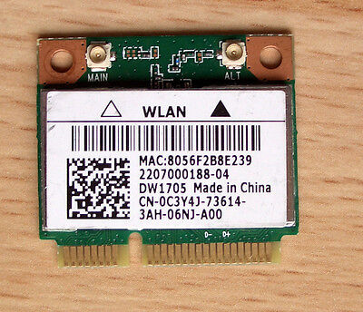 Dell DW1705 WiFi Model:QCWB335 Mini- PCIe 802.11a/b/g/n  Bluetooth 4.0 802.11 A/b/g/n Bluetooth