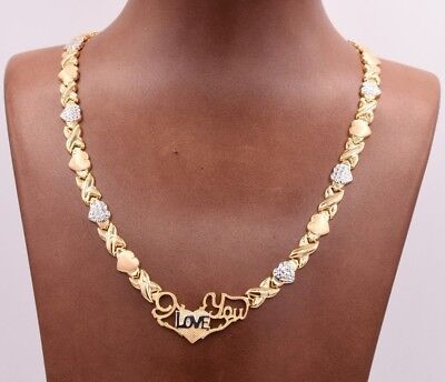 17  I Love You Kisses   Hearts Necklace 14K Gold Clad Silver 925 Xoxo Valentine