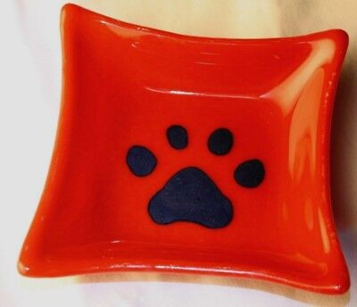 """Fused Glass Art Bowl Red Blue 4.5"""" Square Cat Dog Paw Artisan Handmade in USA"""
