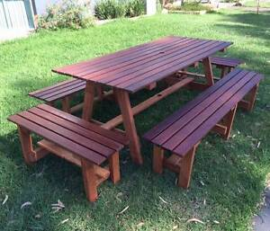 1800mm Merbu Timber Wooden Outdoor Dining Table Set w/ 4 x Stools Dingley Village Kingston Area Preview