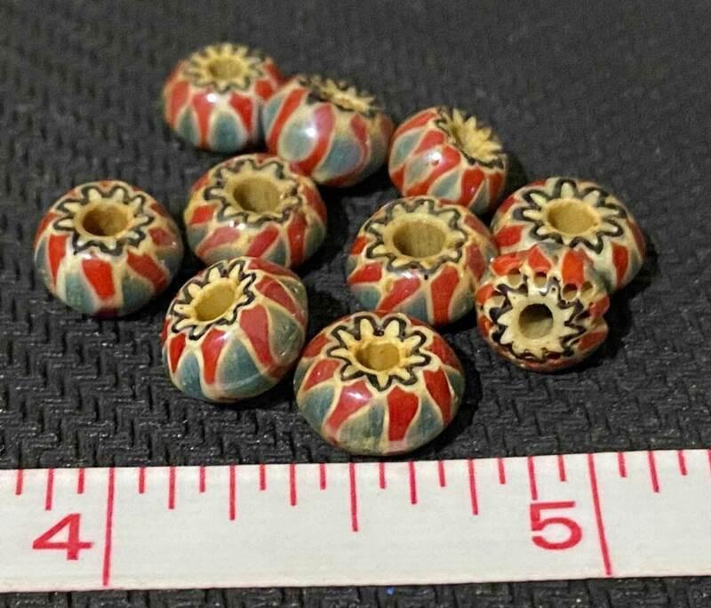 (10) Fur Trade Era Indian 6 Layer Chevron Glass Trade Beads Brick Red & Blue OLD