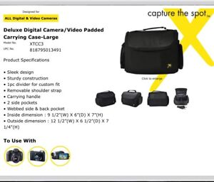 Deluxe digital camera/video padded carrying case -large