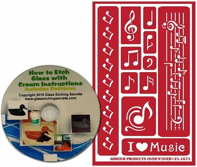 Musical Notes Stencils for Glass Etching or Painting, Reusable + Free How to Etc - Glass Etching Paint