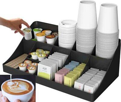 Office Breakroom Coffee Tea Condiment Two Level Multi-compartment Organizer