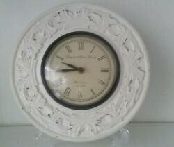 White clock wood farm house decor shabby
