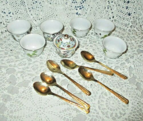 Vintage Oriental Style Mini Cups & Gold Tone Spoons