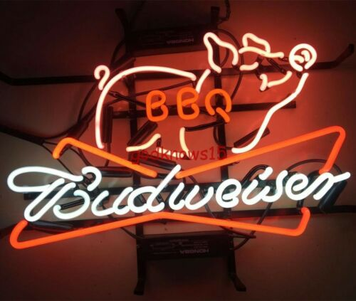 "17""x14"" New Budweiser BBQ Beer Bar Bud Light Barbecue Neon S"