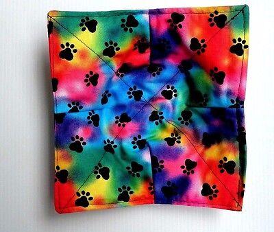 Doggie foot prints bones Microwave bowl hot pad holder  FREE US SHIPPING cotton