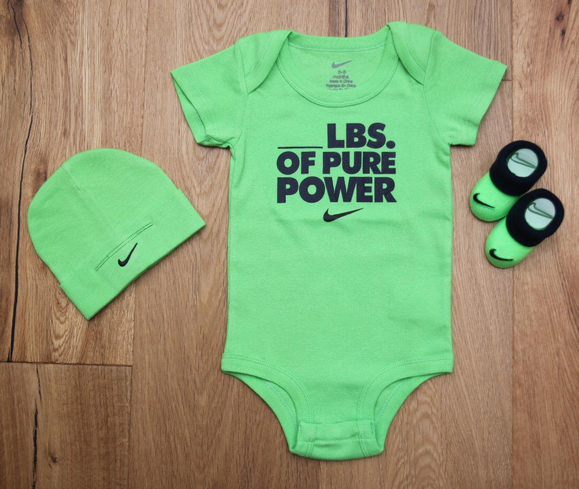 Nike Baby Boy 3 Piece Hat, Bodysuit & Booties Set ~ Lime Gre