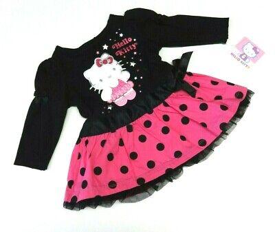 Kleid Baby 56/62 Katze Hello Kitty USA size 0-3 mo Mädchen NEU schwarz langarm