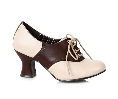 Brown Cream Saddle Shoes 40s 50s Pinup Girl USO Vintage Heels Shoes Womans 7 8 9 - Womens 50s Shoes