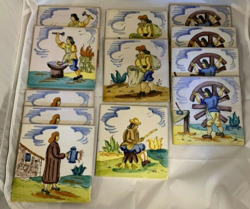 """Set of Twelve (12) Vintage Folk Art Hand Painted Tiles Made In SPAIN 6"""" by 6"""""""