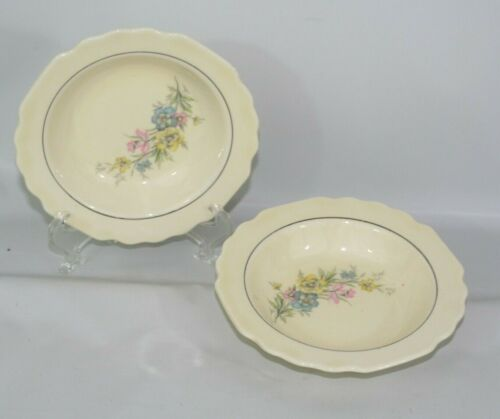 "Set of 2 Vintage WS George Lido Canarystone 5 1/2"" Berry Bowls Flowers Scalloped"