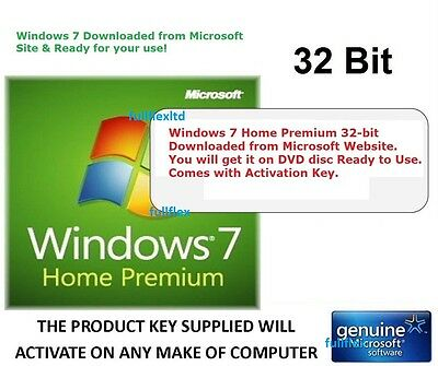 Windows 7 Home Premium 32-bit SP1 - DVD with Original Microsoft Software License