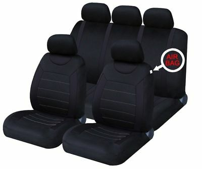 UNIVERSAL CAR SEAT COVERS Full Set Sporty All Black Washable Airbag Compatible