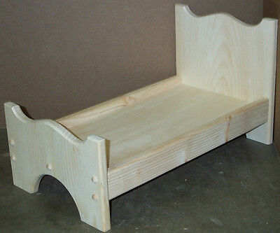 """WOOD DOLL BED UNFINISHED PINE WOOD GOOD FOR 18"""" DOLLS & american girl doll"""