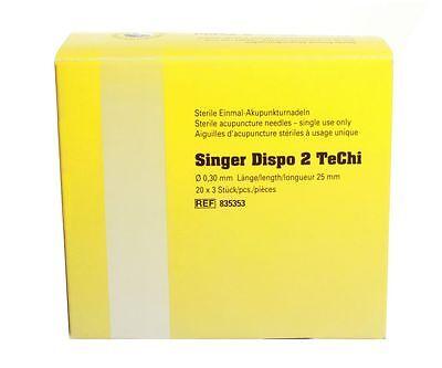 Akupunkturnadeln Singer Dispo 2 TeChi, mit Führung 0,30 x 25 mm - unbeschichtet