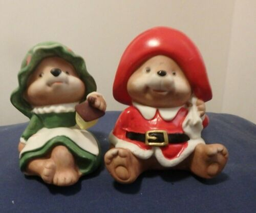 Christmas Holiday Bear Figurines, Set of 2 Homco  #5600, creamic
