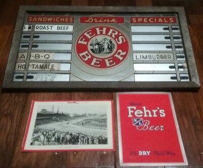 Fehr's Beer Menu Board & Kentucky Derby Menus 1939 - 40